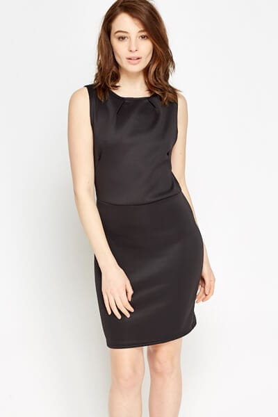 Bodycon Basic Dress L / Seide / Schwarz
