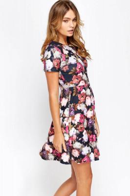 Collard Floral Skater Dress