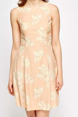 Peach Floral Print Shift Dress