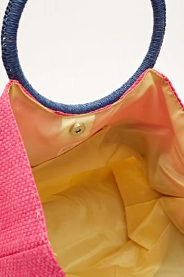 Striped Basket Weave Tote Bag